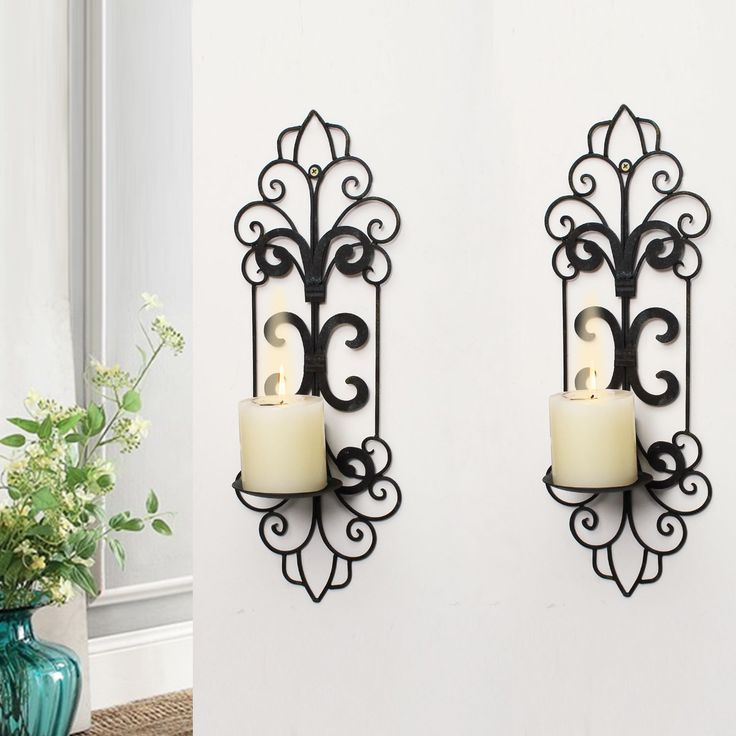 Adeco Decorative Iron Vertical Wall Hanging Pillar Traditional Candle Holder (Set of 2) (distressed blue-black iron), Brown