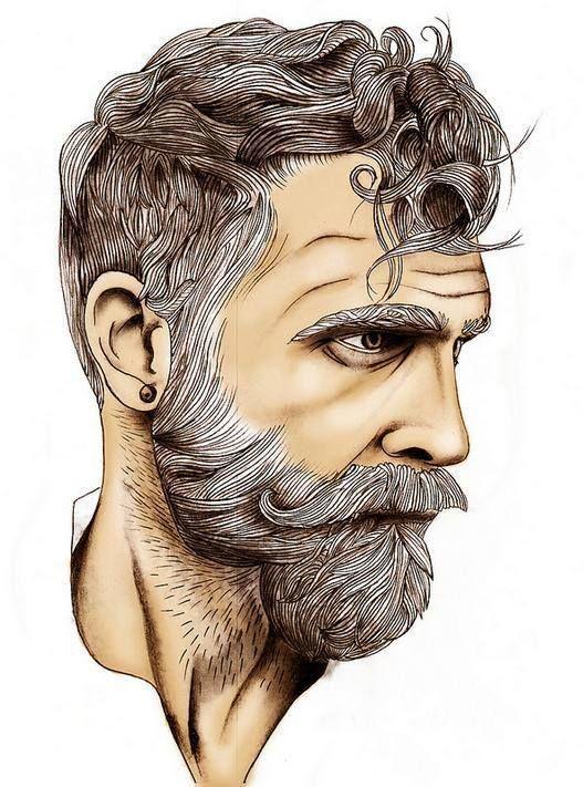 Bearded Gray Haired Man, illustration.