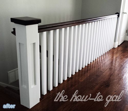 Banister makeover, from thin and outdated to chunky and classic.  ~ from BetterAfter.net ~