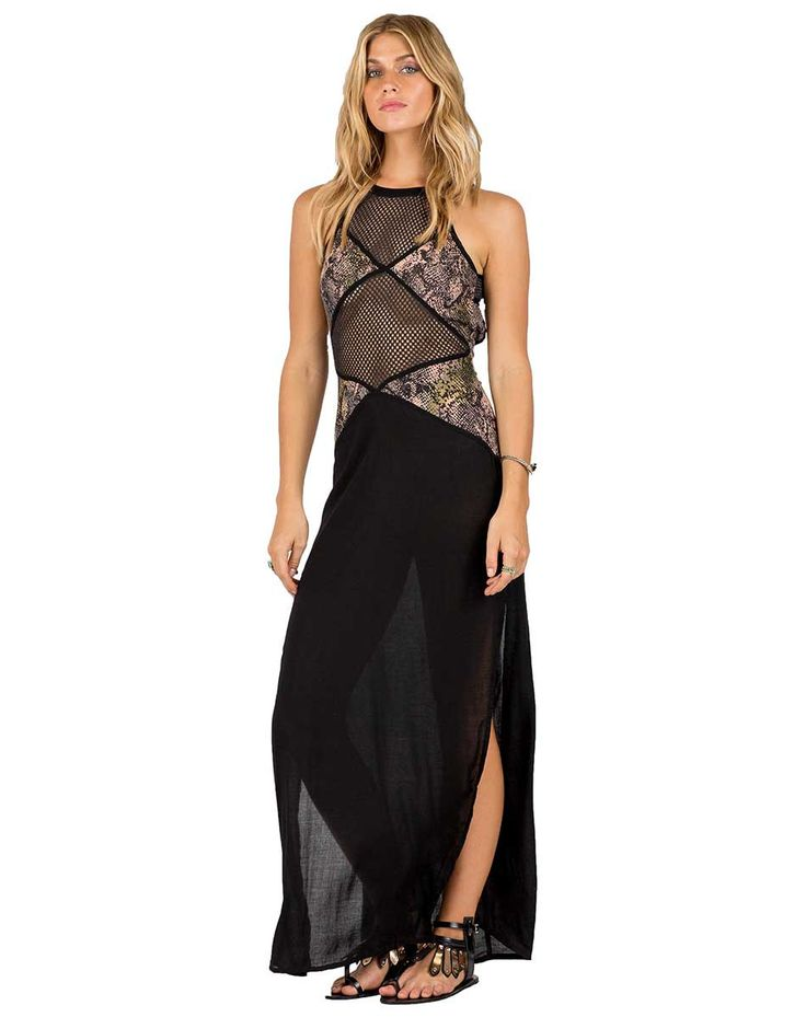 - Rayon maxi dress in our Snake print - Mesh detailing - Side slits - Single button closure with back opening - Model is wearing size Small - Measurements (Small): 17in bust, 14in waist, 64in length R