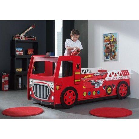 Une touche de joie et d'originalité pour la chambre de votre enfant ! Cela est possible avec ce lit enfant au design camion de pompier rouge avec la lumière ...