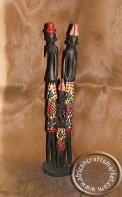 African hand carved wooden Maasaiskinny couple