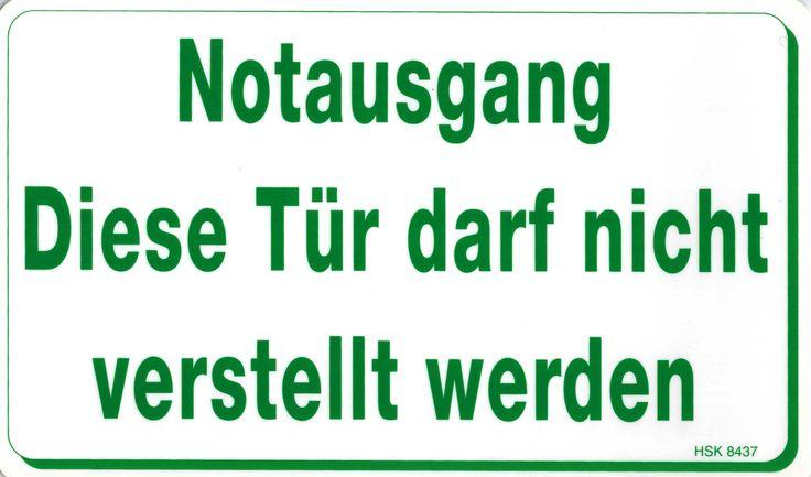 Hinweis-Schild - PST-Schild Notausgang..., vielseitig einsetzbar, wasserfest und wetterbeständig