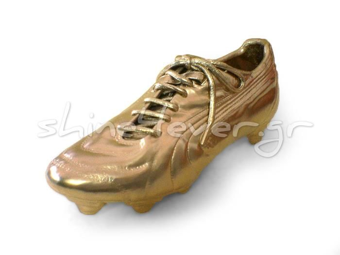 Gold-plated football shoe. By shine4ever.gr.