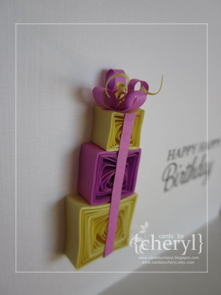 Quilled birthday present card
