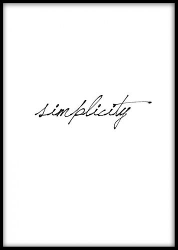 Enkel och stilren texttavla med ordet Simplicity. Svartvit poster med text. Handla planscher och affischer med fina ord, citat och budskap online på desenio.se