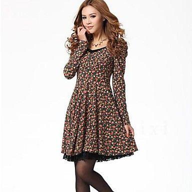 vestido midi de manga larga floral delgado coreano del estilo de la mujer – USD $ 19.79