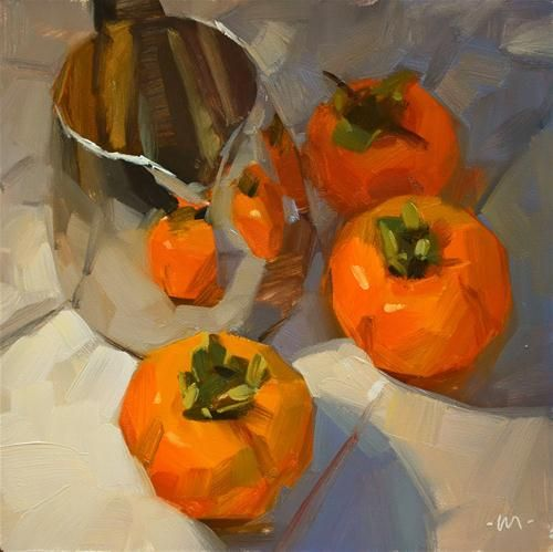 """""""Reflecting Persimmons"""" by Carol Marine really like her painting style that gives the softness into her paintings"""