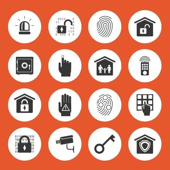 Home security icons by Microvector on @creativemarket