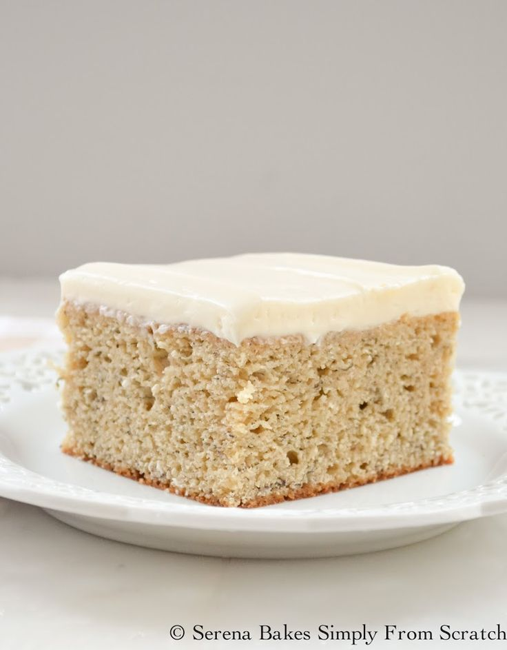Moist Banana Cake with Lightly Sweetened Cream Cheese Frosting