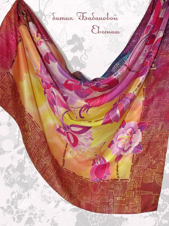 Hand painted silk scarf batik Silk scarf Maghrib by EshaCraft