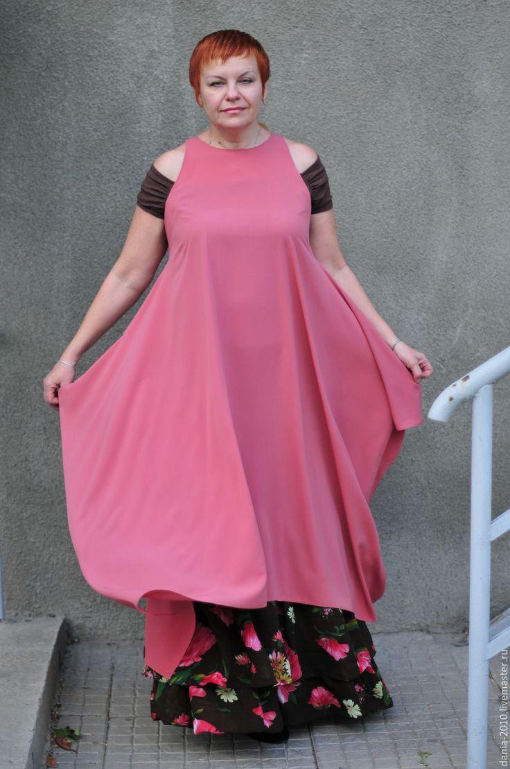 """Купить авторский комплект """"ЛЮДМИЛА"""" - коралловый, однотонный, крупные цветы, юбка с оборками"""