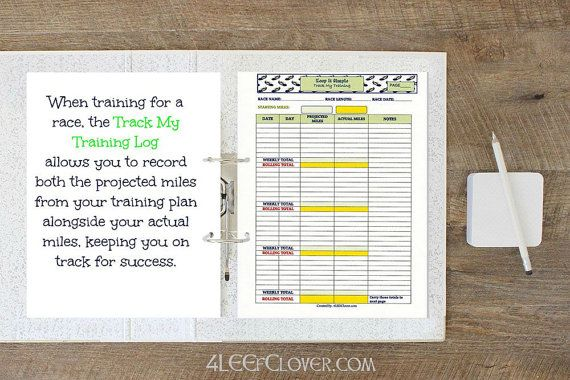 Track My Training Log  Monthly. PDF Downloadable by 4LEEfClover. Easiest way to keep track of your actual training miles. Makes a nice simple running log to keep you on track!