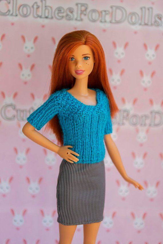 Barbie <b>doll</b> clothes. Handmade knitted blue top. Outfit <b>for original</b> ...