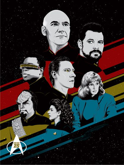 """Bye Bye Robot is celebrating the 25th anniversary of Star Trek: The Next Generation with the release of a stunning 18"""" x 24"""" lithograph by Washington, D.C.-based artist Tracie Ching. Entitled """"TNG 25,"""" the lithograph depicts the Enterprise NCC-1701-D bridge crew and has been rendered in black and white, as well as in stark, inventively utilized red, gold and blue, representing the branches of Starfleet."""