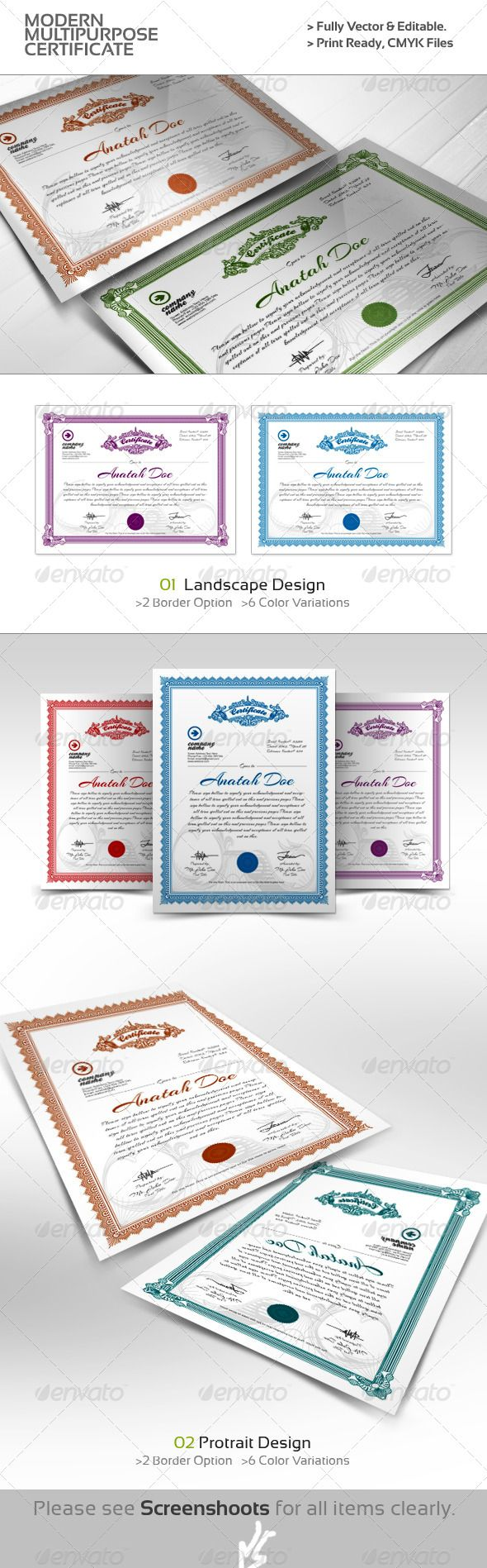 Modern Multipurpose Certificates - EPS Template • Only available here ➝ http://graphicriver.net/item/modern-multipurpose-certificates/4409262?ref=pxcr