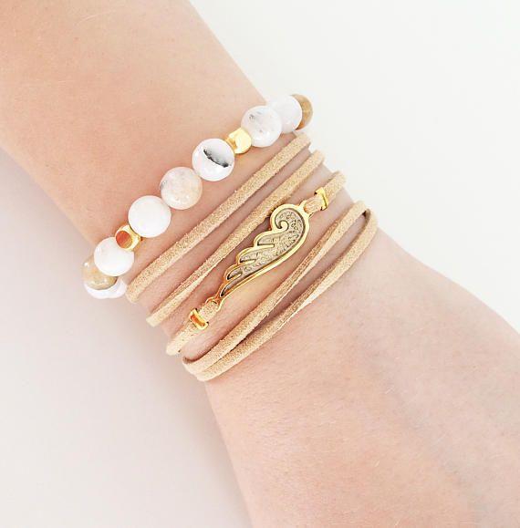 greek jewelry white agate brown leather bracelet angel wing