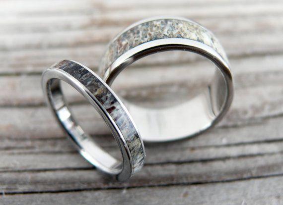 Titanium and Deer Antler Wedding Band Set Wedding by RingWithHeart