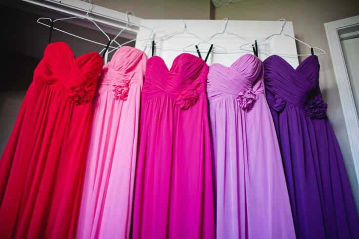 Pink, purple and red bridesmaid dresses  #Dessy #Ombre