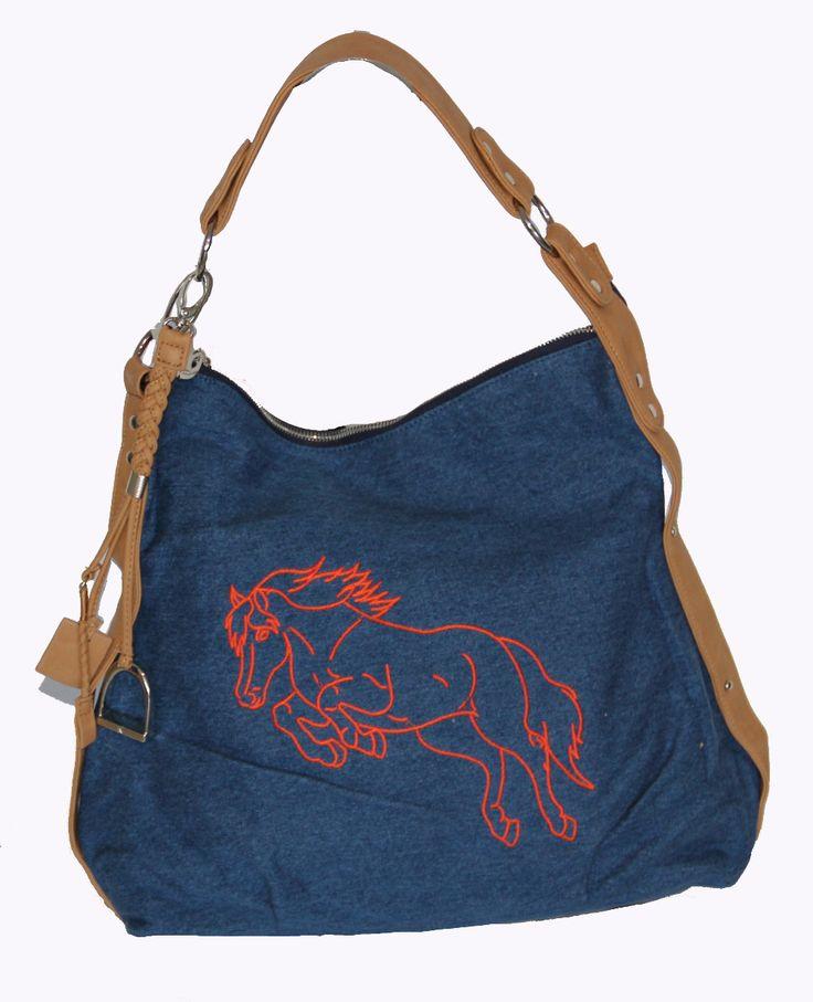I'm selling Horse Emblem Rhinestones Designer Denim Shoulder Bag Unique! - A$60.00