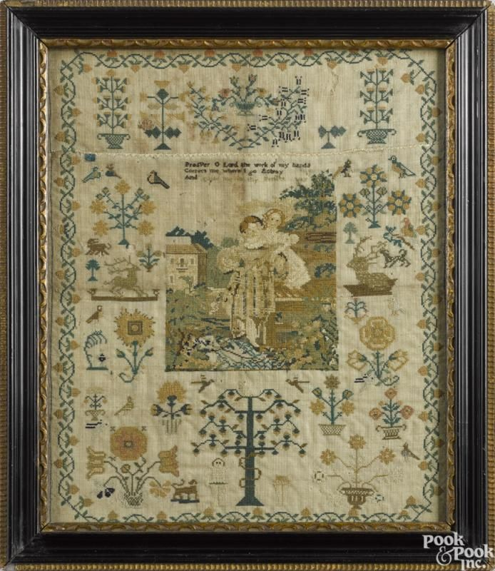 English silk on linen sampler, early 19th c., with a central landscape with children - Price Estimate: $400 - $600