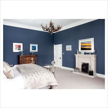 dark blue and silver bedroom