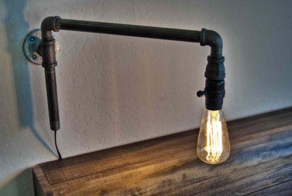 Steampunk Wall Lamp . Iron Lighting . Rustic Lighting . Swing Arm Lamp . Modern Light Fixture . Urban Lighting . Lighting