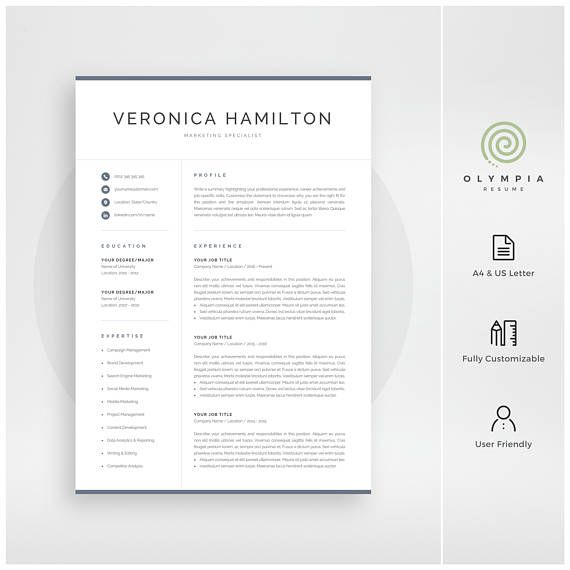 Professional Resume Template for Microsoft Word - Veronica This modern and professional resume template set contains one-page and two-page resume designs with matching cover letter and references sheet for a complete and consistent presentation. All pages are available in A4 and US