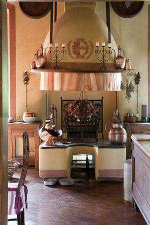 Lovely copper hood in Italian villa kitchen