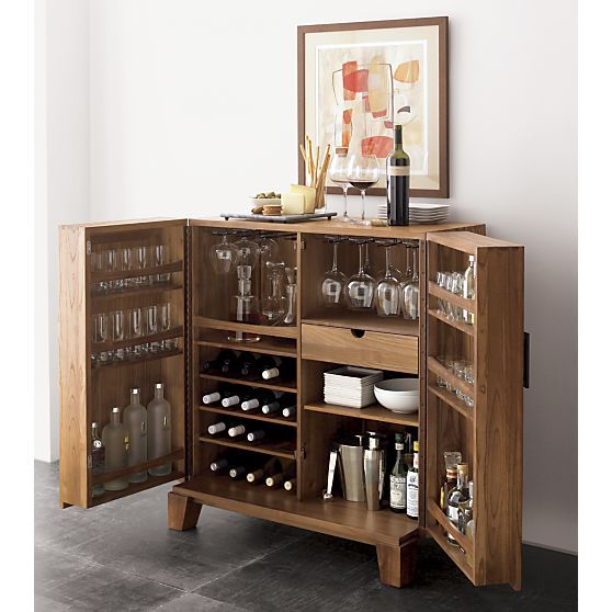 Organized liquor cabinet ideal for hiding away when not needed.