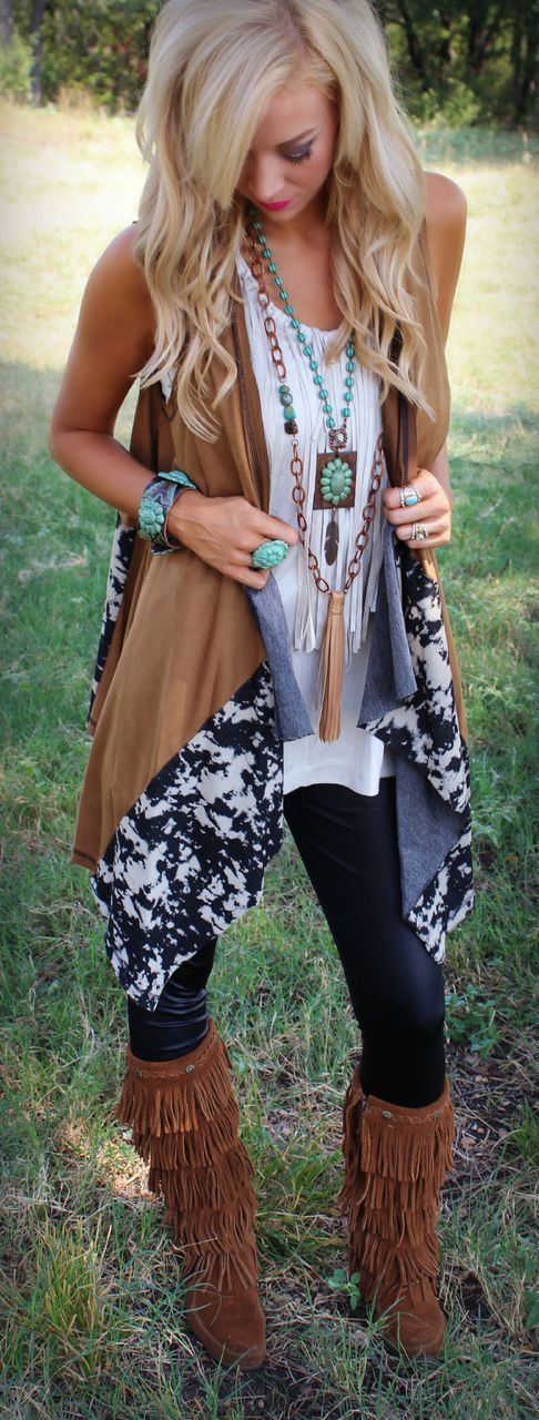In warmer weather, or even when it gets cooler, layers of Boho clothes, like a tank with a fringe vest, printed kimono, basically anything you put together with beads, silver, & turquoise send out a gypsy vibe while you're still comfortable.