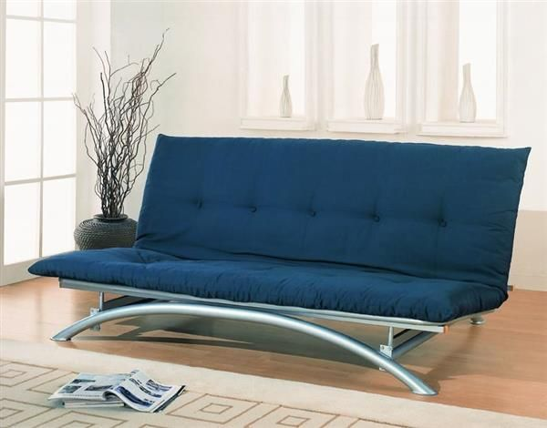 Contemporary Silver Metal Armless Futon Frame