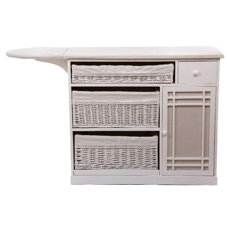 Mueble de plancha 3 cestos blanco cuarto de lavadora for Mueble planchador ikea