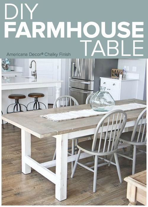 DIY Weathered Farmhouse Table    Add A Chic Dining Room Table To Complete  Any Kitchen. #decoartprojects | Chalky Finish | Pinterest | Farmhouse Table,  ...