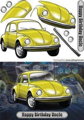 Happy Birthday Uncle Volkswagen Beetle Classic Car Yellow on Craftsuprint designed by Glynn Clarke - Happy Birthday Uncle Volkswagen Beetle Classic Car Yellow Step-By-Step Decoupage - Now available for download!