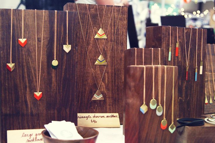 oh, hello friend: you are loved.: craft show stuff: son of a sailor display.  Love the dark wood blocks for necklaces.