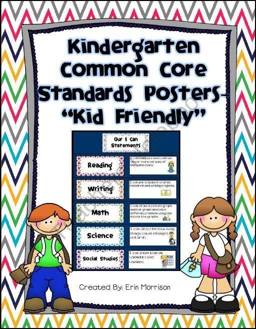 """Kindergarten Common Core Standards Posters -  """"Kid Friendly"""""""