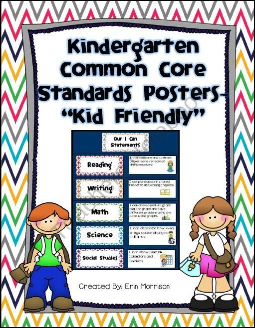 "Kindergarten Common Core Standards Posters -  ""Kid Friendly"""