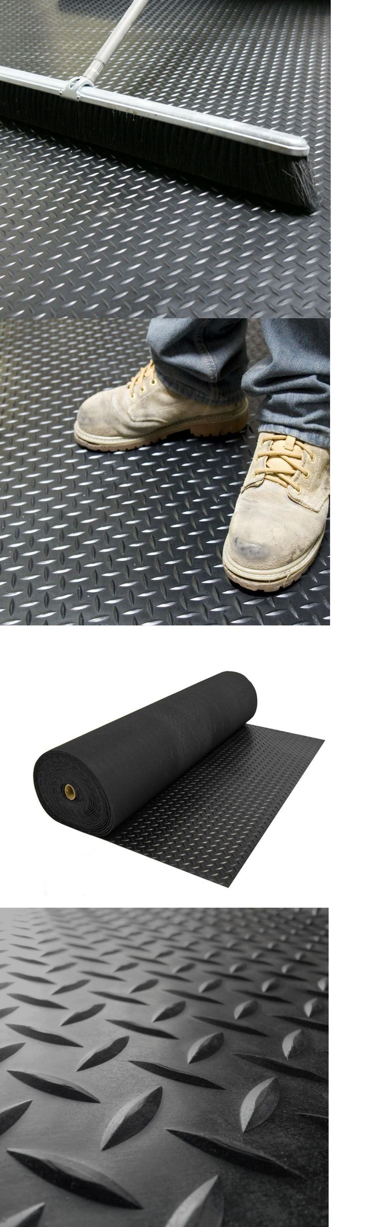 Equipment Mats and Flooring 179806: Garage Floor Protector Rubber Flooring For Home Gym Black Diamond Plate 15Ft. -> BUY IT NOW ONLY: $126.99 on eBay!