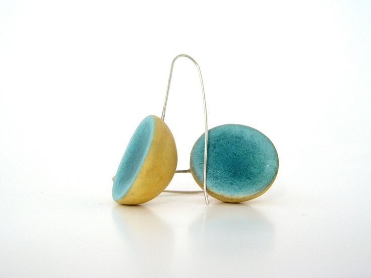 Minimal emerald yellow  dome clay earrings eco friendly blue green teal modern jewelry shabby chic medium long earrings  sterling silver (21.00 USD) by AntigoniCreations
