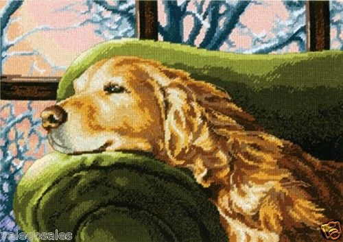 Dimensions #Needlepoint  LOUNGING ( WINTER'S NAP ) ♥ #ebay #sale #dogs #canine #pets #gift #home #interior #walldecor #create #DIY #project #handcraft #handmade #needlework #stitching #craft #decoration