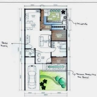 gambar denah rumah minimalis modern type 70 minimalist