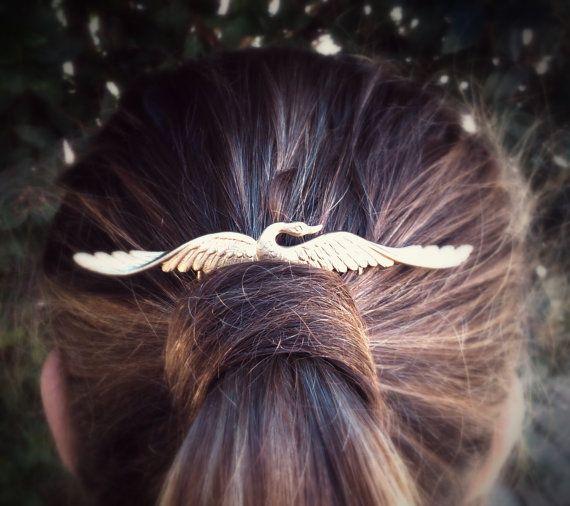 Gold Swan Hair Comb Gold Hair Comb Gold Hair Clip by OLIVIABRUN