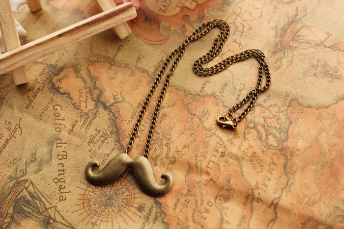 Funny mustache necklace,retro bronze mustache necklace---N010. via Etsy.