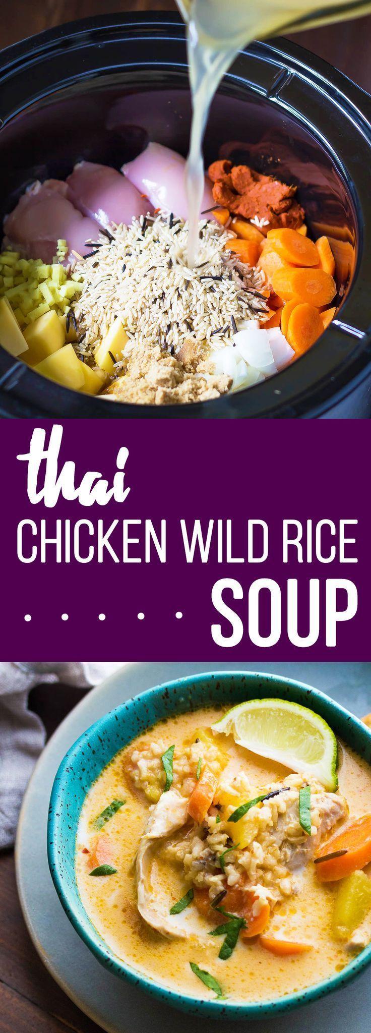 This Thai Slow Cooker Chicken and Wild Rice Soup is an easy dump and go crock pot recipe!  Bezoek www.GEZONDVOORSTEL.com voor meer tips en recepten over gezond eten! #gezond #gezondevoeding #gezondeten #recept #gezonderecepten #recepten #lekkereten