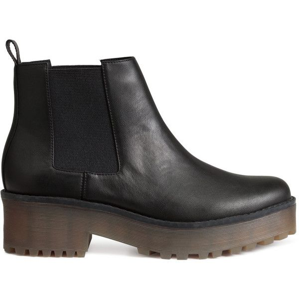 H&M Platform Chelsea boots (€40) ❤ liked on Polyvore featuring shoes, boots, black, h&m, h&m boots and h&m shoes