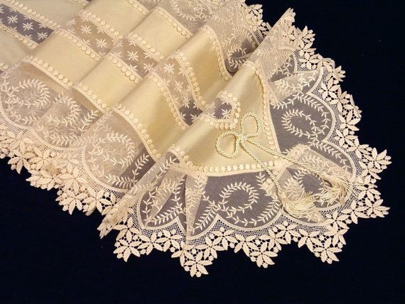 Table runner ecru Silk with Viennese lace by ClassyInteriorsDeco