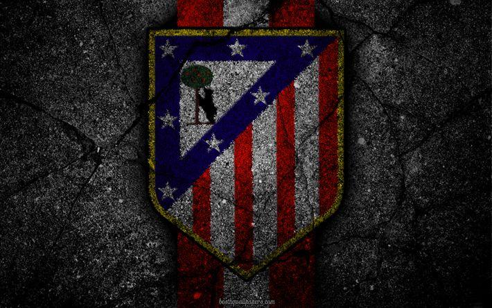 Download wallpapers Atletico Madrid, logo, art, La Liga, soccer, football club, LaLiga, grunge, Atletico Madrid FC