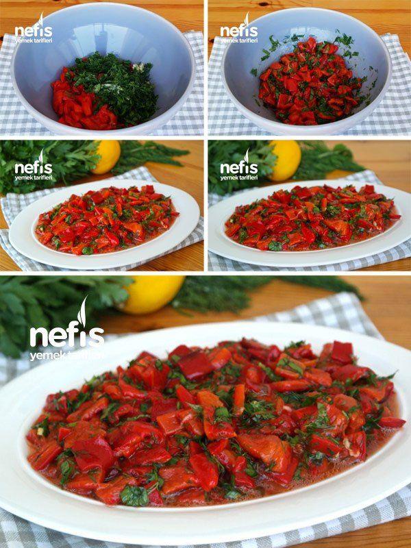 Közlenmiş Kırmızı Biber Salatası Tarifi Videolu Közlenmişkırmızıbibersalatası Salatatarifleri Nefisyemektarifleri Yem Yemek Tarifleri Biber Salatası Meze