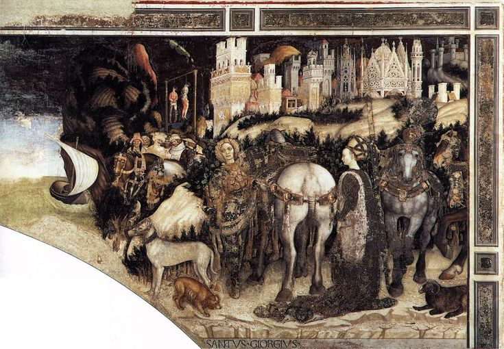 by PISANELLO St George and the Princess of Trebizond (right side) 1436-38 Fresco Pellegrini Chapel, Sant'Anastasia, Verona